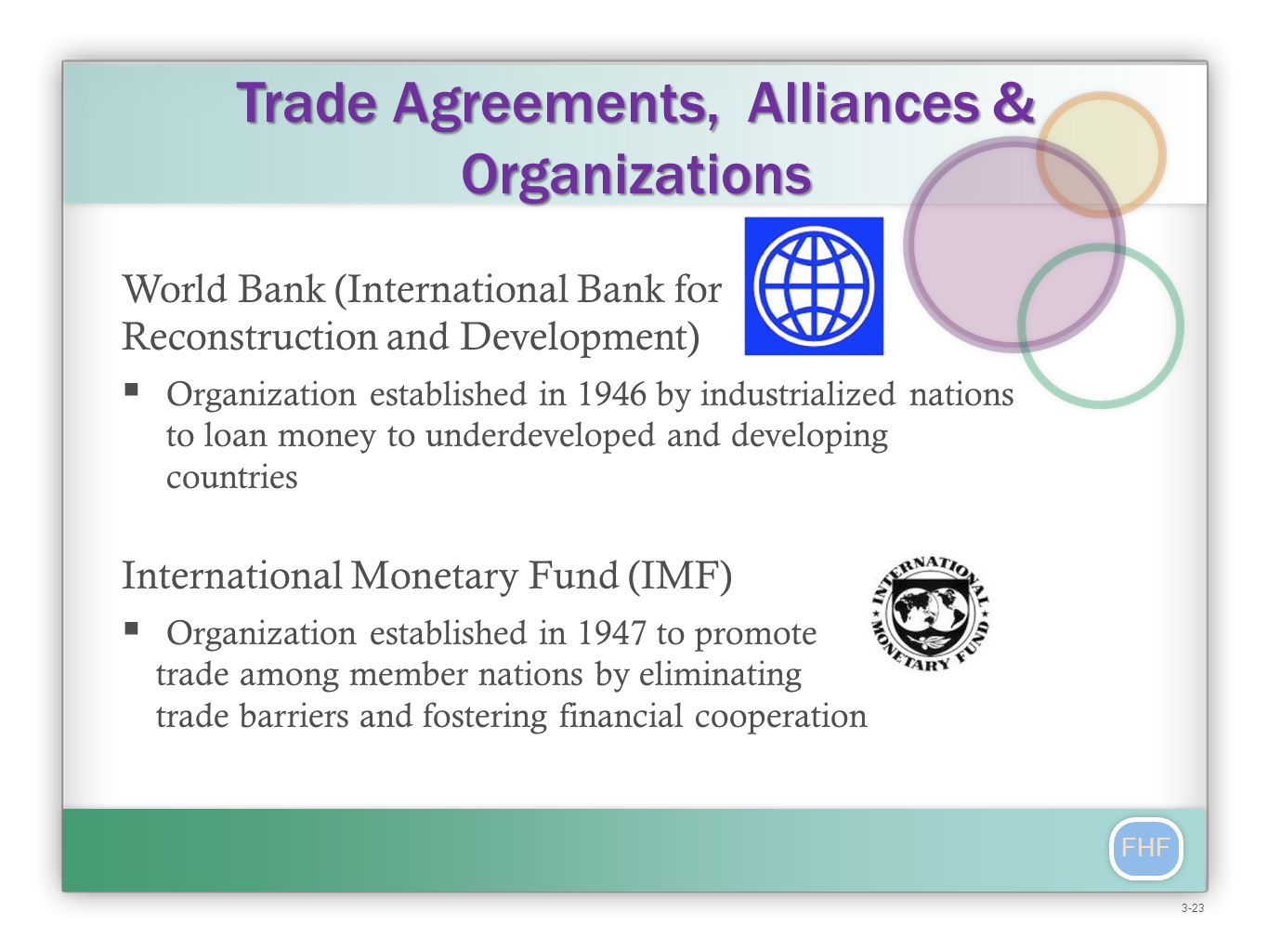FHF Trade Agreements, Alliances & Organizations World Bank (International Bank for Reconstruction and Development)  Organization established in 1946 by industrialized nations to loan money to underdeveloped and developing countries International Monetary Fund (IMF)  Organization established in 1947 to promote trade among member nations by eliminating trade barriers and fostering financial cooperation 3-23