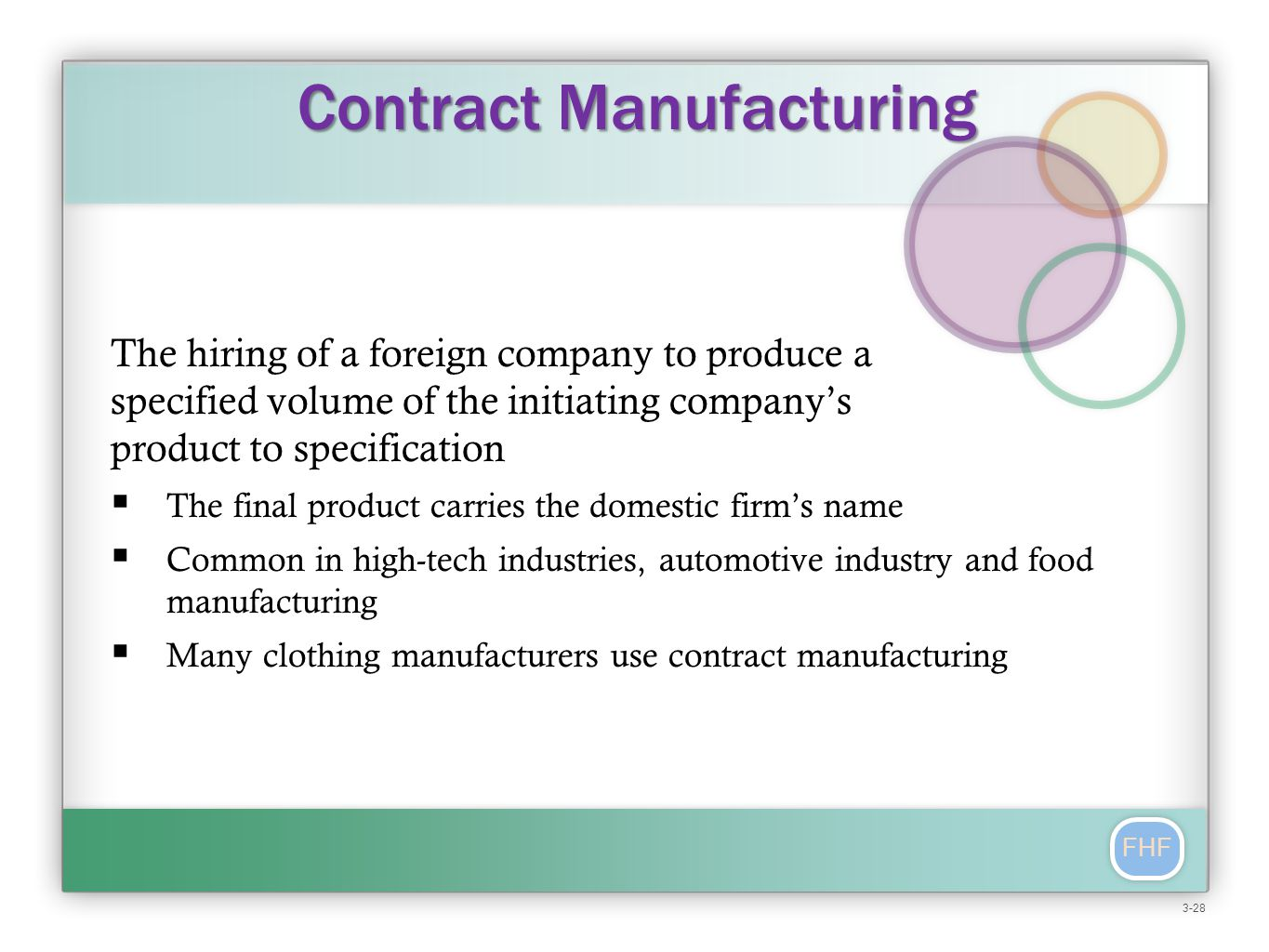 FHF The hiring of a foreign company to produce a specified volume of the initiating company's product to specification  The final product carries the domestic firm's name  Common in high-tech industries, automotive industry and food manufacturing  Many clothing manufacturers use contract manufacturing Contract Manufacturing 3-28