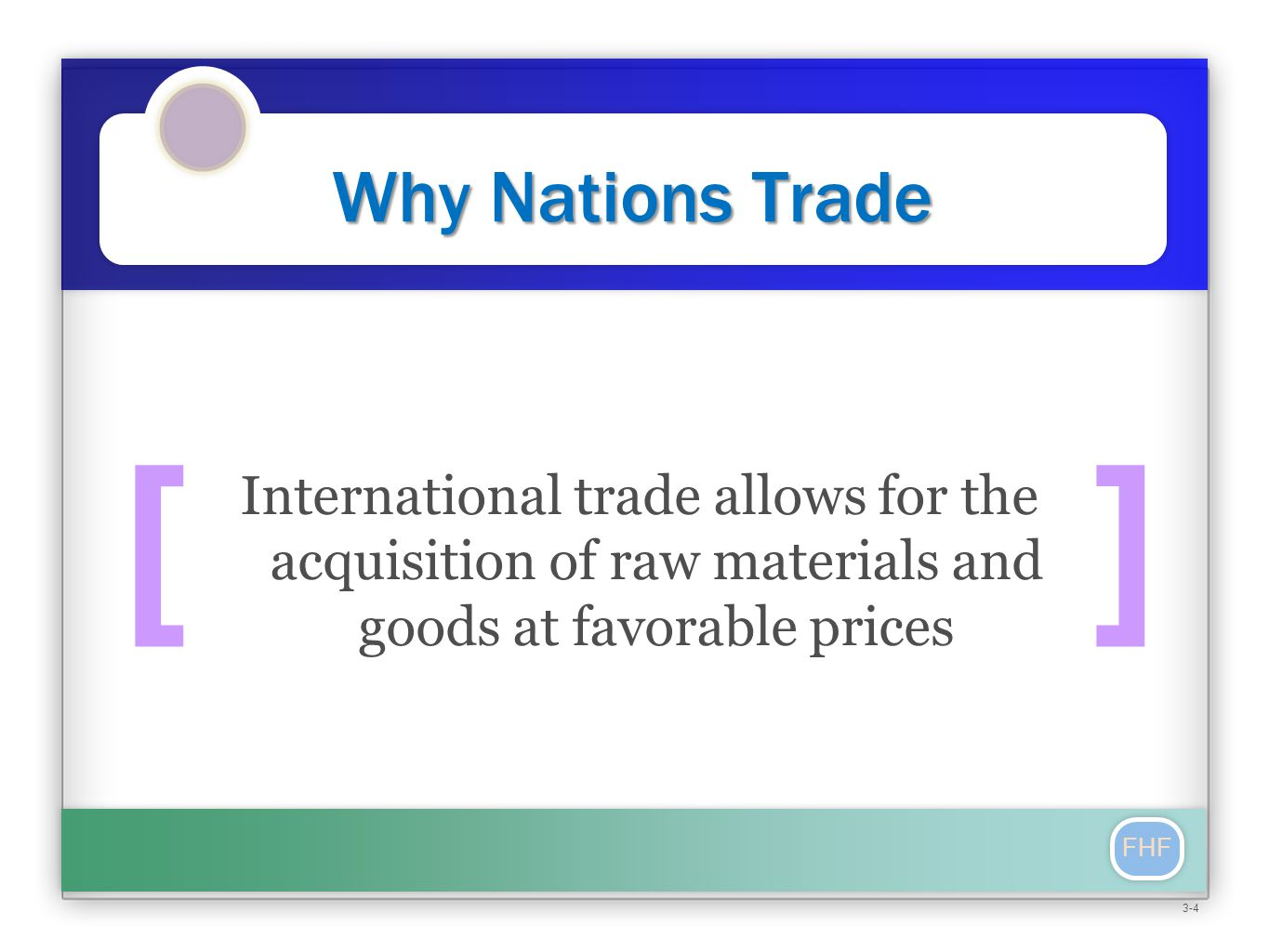 [] FHF Why Nations Trade International trade allows for the acquisition of raw materials and goods at favorable prices 3-4