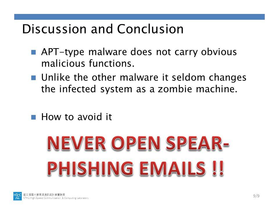 國立清華大學高速通訊與計算實驗室 NTHU High-Speed Communication & Computing Laboratory Discussion and Conclusion APT-type malware does not carry obvious malicious functions.