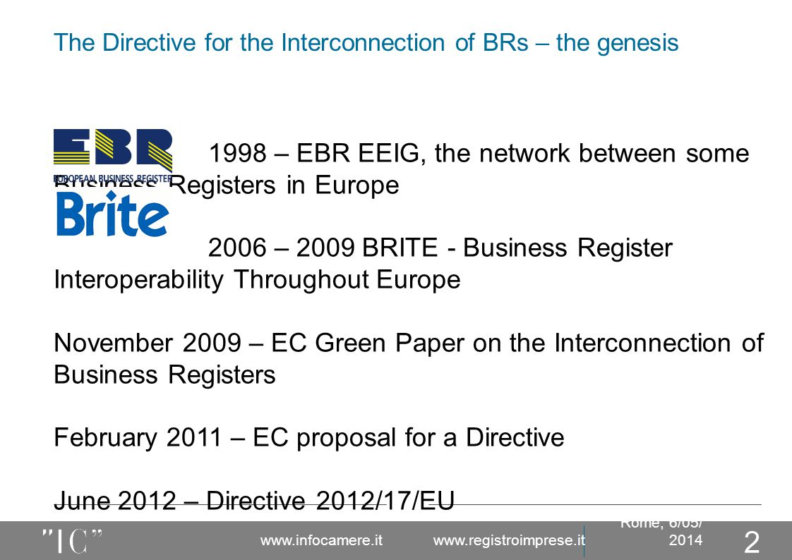 The Directive for the Interconnection of BRs – the genesis Rome, 6/05/ 2014 www.infocamere.it www.registroimprese.it 2 1998 – EBR EEIG, the network between some Business Registers in Europe 2006 – 2009 BRITE - Business Register Interoperability Throughout Europe November 2009 – EC Green Paper on the Interconnection of Business Registers February 2011 – EC proposal for a Directive June 2012 – Directive 2012/17/EU