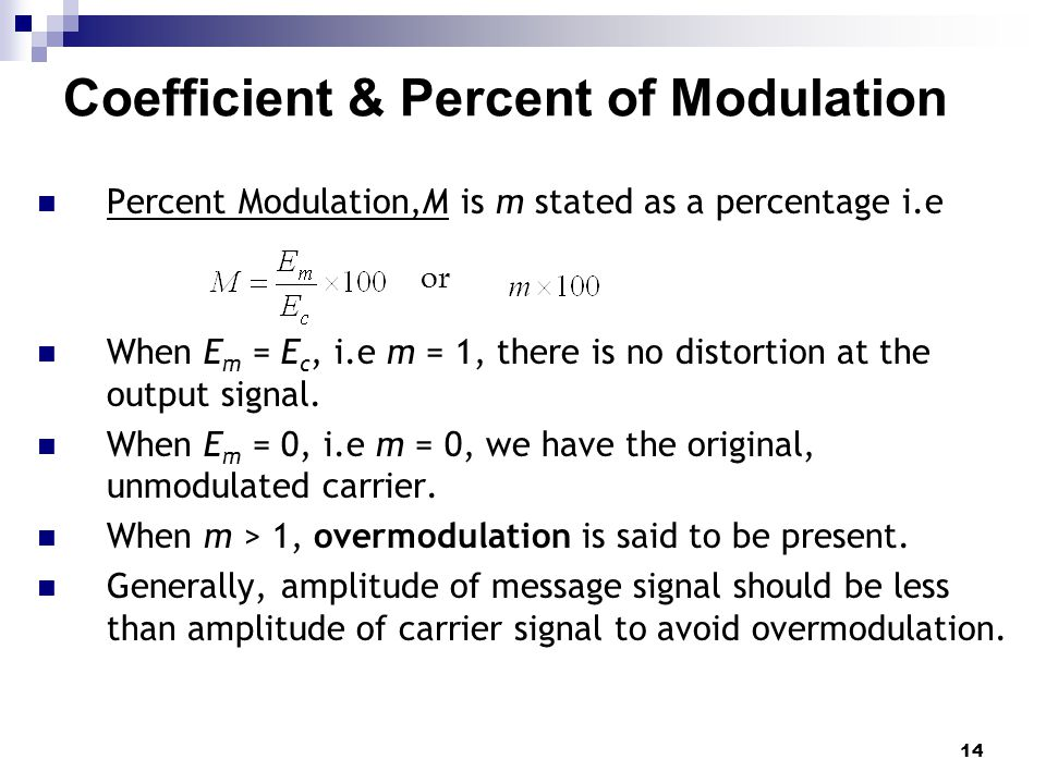 14 Coefficient & Percent of Modulation or Percent Modulation,M is m stated as a percentage i.e When E m = E c, i.e m = 1, there is no distortion at th