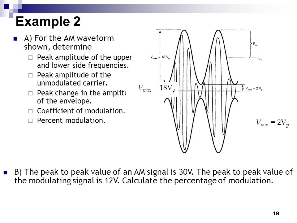 19 Example 2 A) For the AM waveform shown, determine  Peak amplitude of the upper and lower side frequencies.  Peak amplitude of the unmodulated car