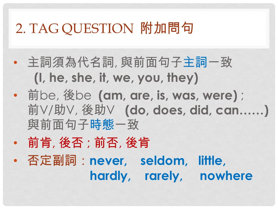 2.TAG QUESTION 附加問句 This idea sounds great, doesn't it.
