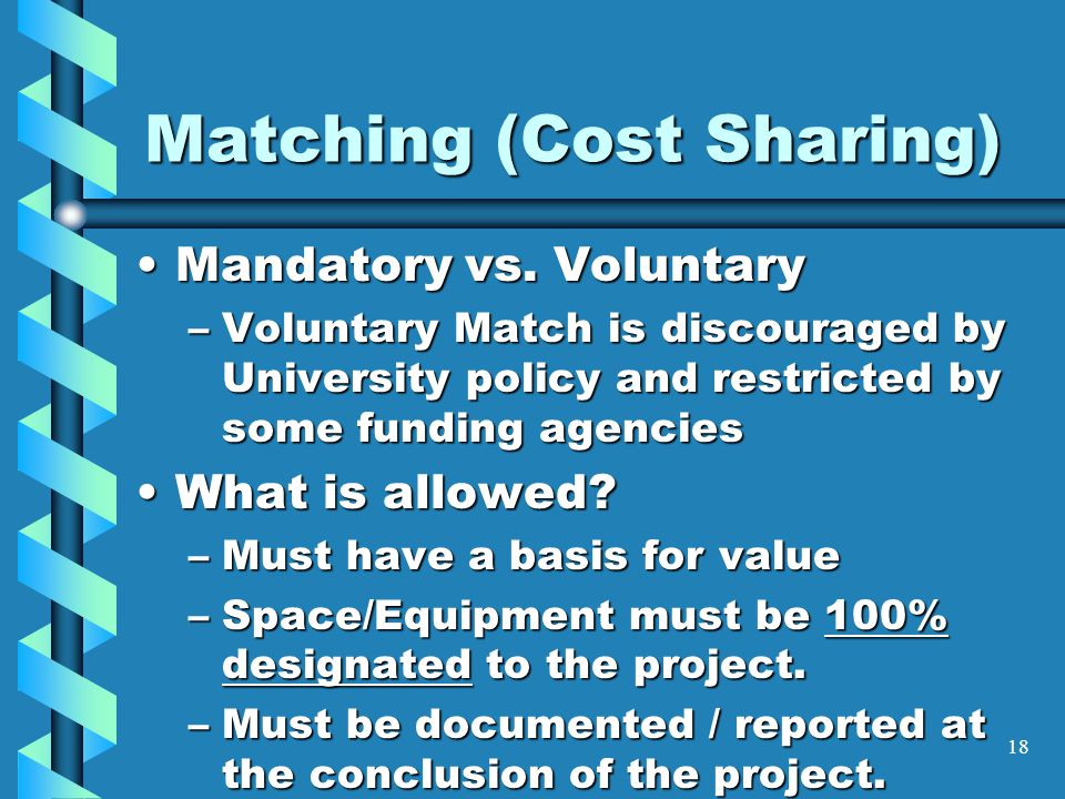 Matching (Cost Sharing) Mandatory vs. VoluntaryMandatory vs.