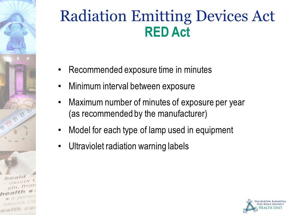 Recommended exposure time in minutes Minimum interval between exposure Maximum number of minutes of exposure per year (as recommended by the manufactu