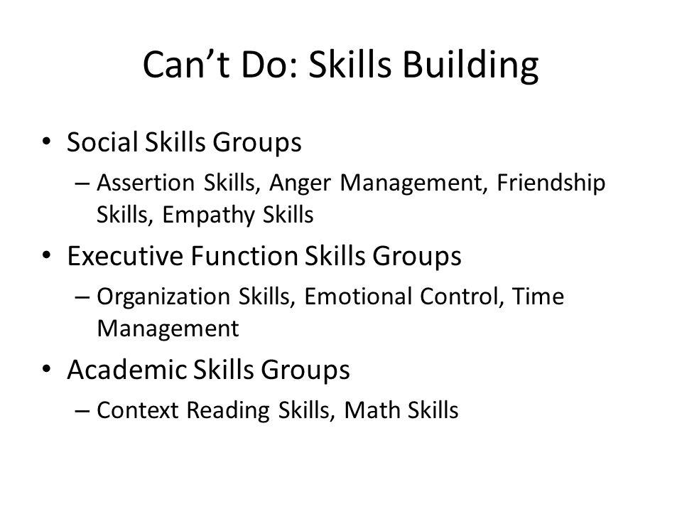 Can't Do: Skills Building Social Skills Groups – Assertion Skills, Anger Management, Friendship Skills, Empathy Skills Executive Function Skills Group