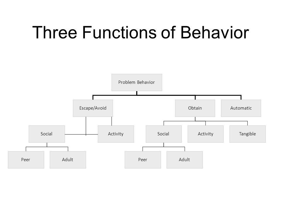 Three Functions of Behavior Problem Behavior Escape/Avoid SocialActivity PeerAdult Obtain SocialActivityTangible PeerAdult Automatic