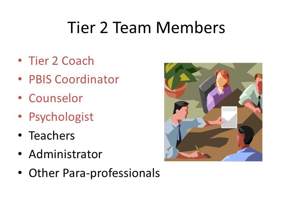 Tier 2 Team Members Tier 2 Coach PBIS Coordinator Counselor Psychologist Teachers Administrator Other Para-professionals