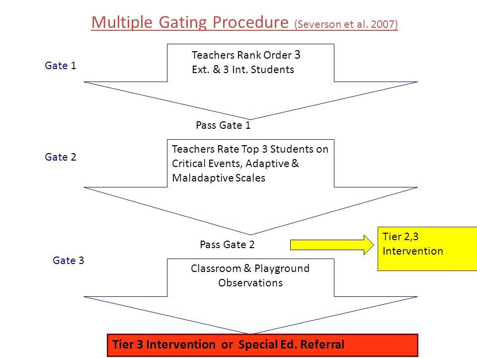 Multiple Gating Procedure (Severson et al. 2007) Teachers Rank Order 3 Ext. & 3 Int. Students Teachers Rate Top 3 Students on Critical Events, Adaptiv