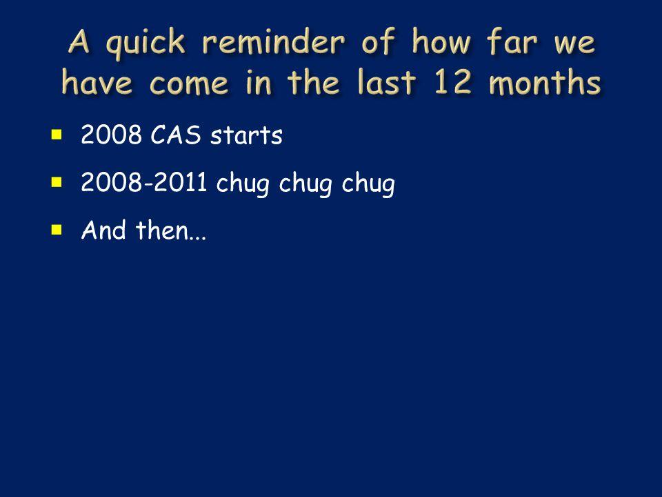  2008 CAS starts  2008-2011 chug chug chug  And then...