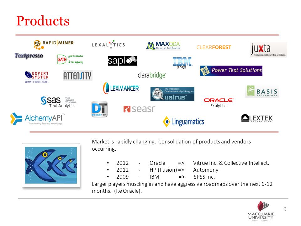 Products 9 Market is rapidly changing.Consolidation of products and vendors occurring.