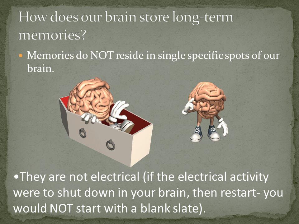 Memories do NOT reside in single specific spots of our brain.