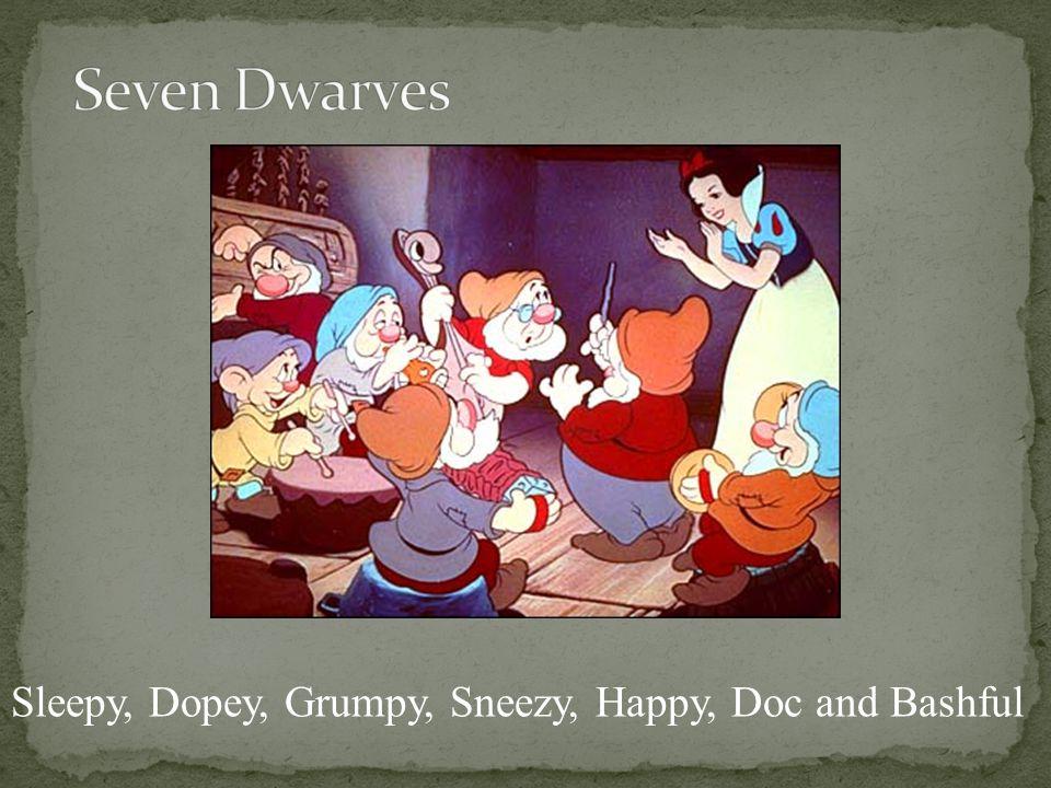 Sleepy, Dopey, Grumpy, Sneezy, Happy, Doc and Bashful