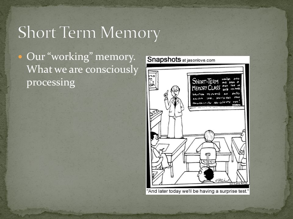 Our working memory. What we are consciously processing