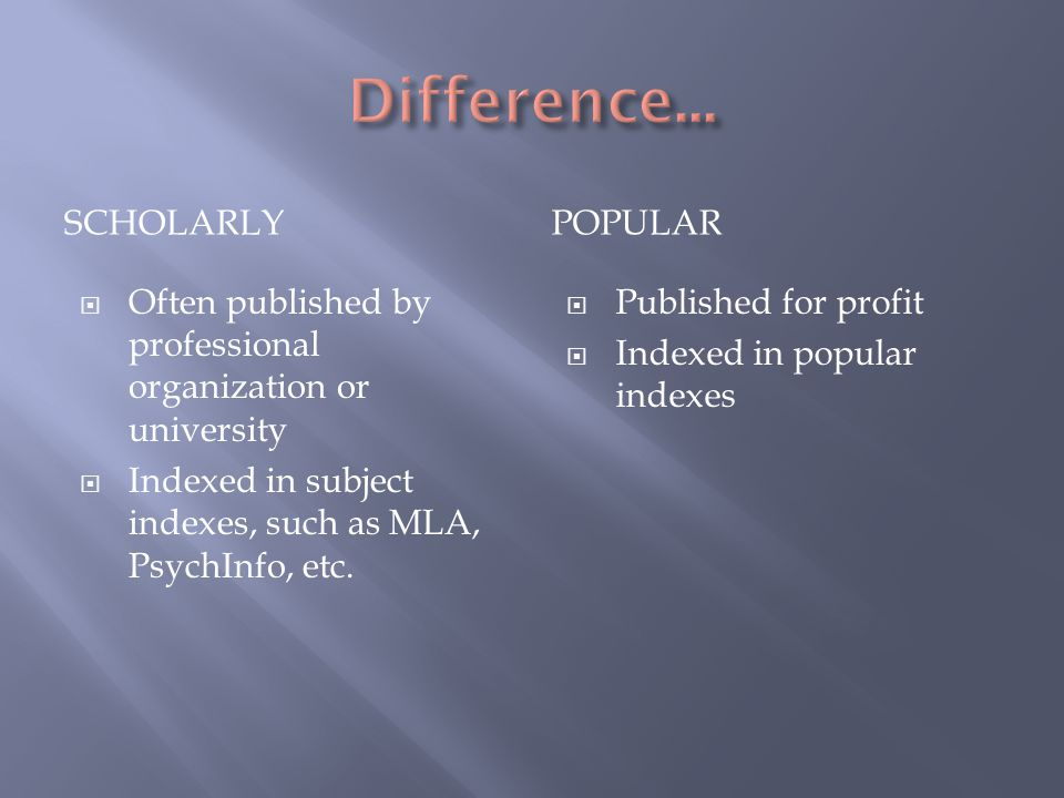SCHOLARLYPOPULAR  Often published by professional organization or university  Indexed in subject indexes, such as MLA, PsychInfo, etc.