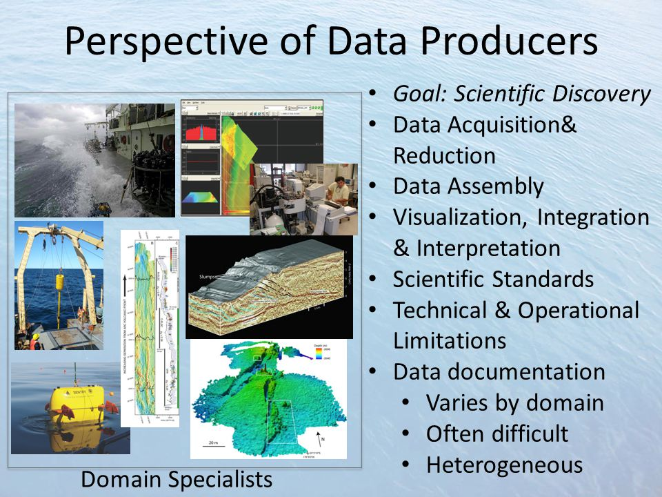 Perspective of Data Producers Goal: Scientific Discovery Data Acquisition& Reduction Data Assembly Visualization, Integration & Interpretation Scientific Standards Technical & Operational Limitations Data documentation Varies by domain Often difficult Heterogeneous Domain Specialists
