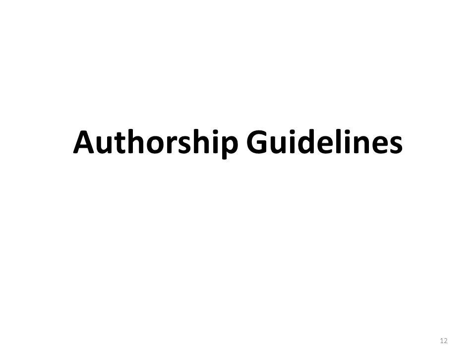 Authorship Guidelines 12