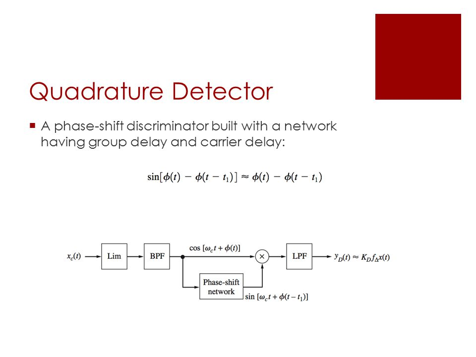 Quadrature Detector  A phase-shift discriminator built with a network having group delay and carrier delay: