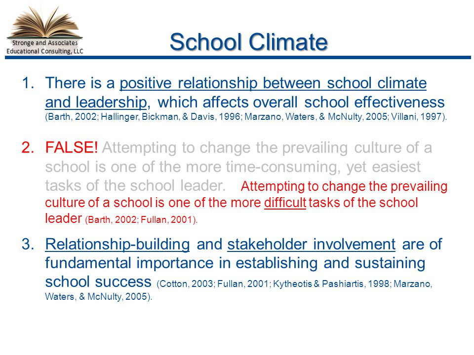 Stronge and Associates Educational Consulting, LLC School Climate 1.There is a positive relationship between school climate and leadership, which affects overall school effectiveness (Barth, 2002; Hallinger, Bickman, & Davis, 1996; Marzano, Waters, & McNulty, 2005; Villani, 1997).