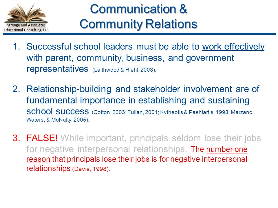 Stronge and Associates Educational Consulting, LLC Communication & Community Relations 1.Successful school leaders must be able to work effectively with parent, community, business, and government representatives (Leithwood & Riehl, 2003).