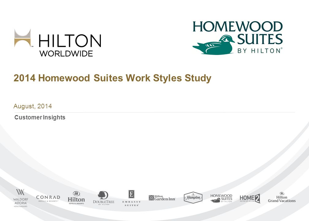 2014 Homewood Suites Work Styles Study August, 2014 Customer Insights