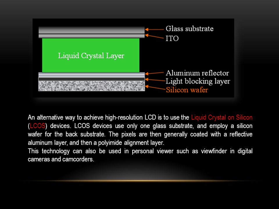 An alternative way to achieve high-resolution LCD is to use the Liquid Crystal on Silicon (LCOS) devices.