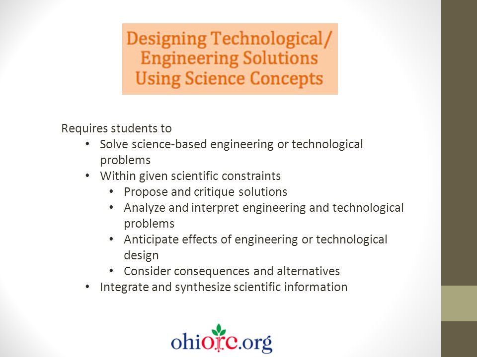 Requires students to Solve science-based engineering or technological problems Within given scientific constraints Propose and critique solutions Anal