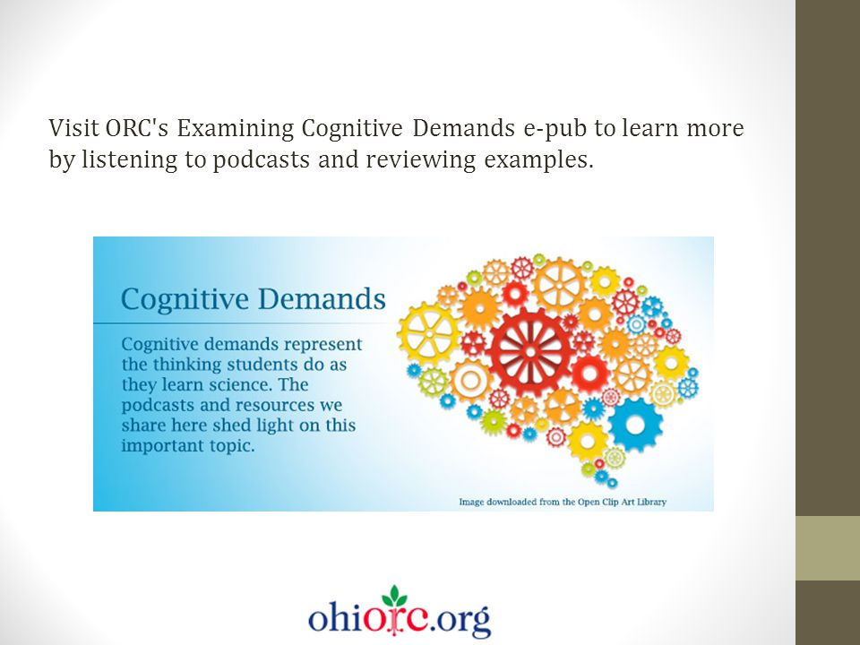 Visit ORC's Examining Cognitive Demands e-pub to learn more by listening to podcasts and reviewing examples.