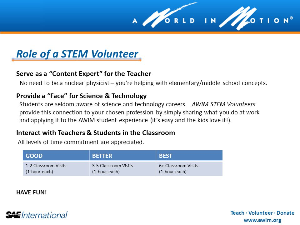 Teach · Volunteer · Donate www.awim.org Role of a STEM Volunteer Serve as a Content Expert for the Teacher No need to be a nuclear physicist – you're helping with elementary/middle school concepts.