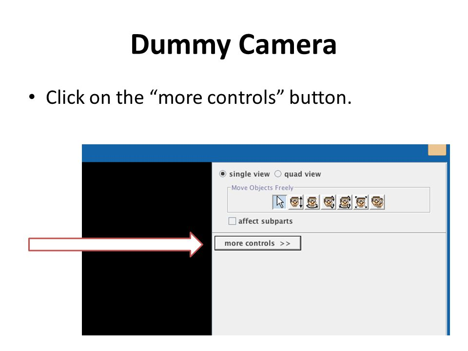 """Dummy Camera Click on the """"more controls"""" button."""