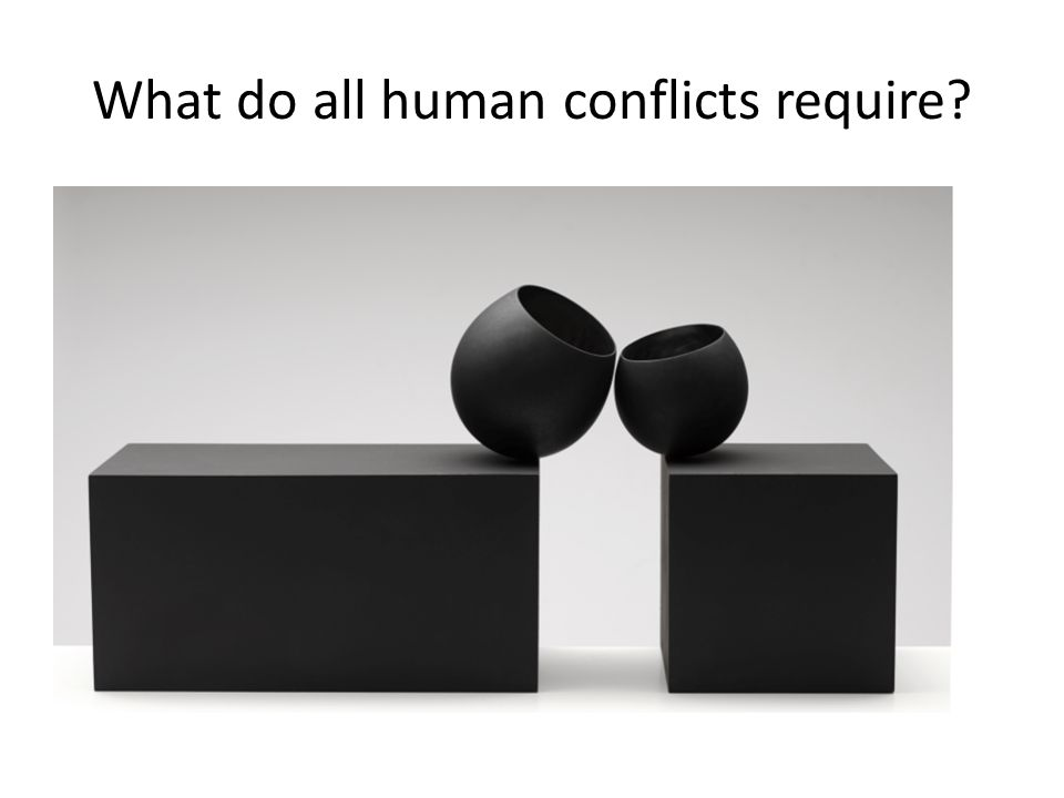 What do all human conflicts require?