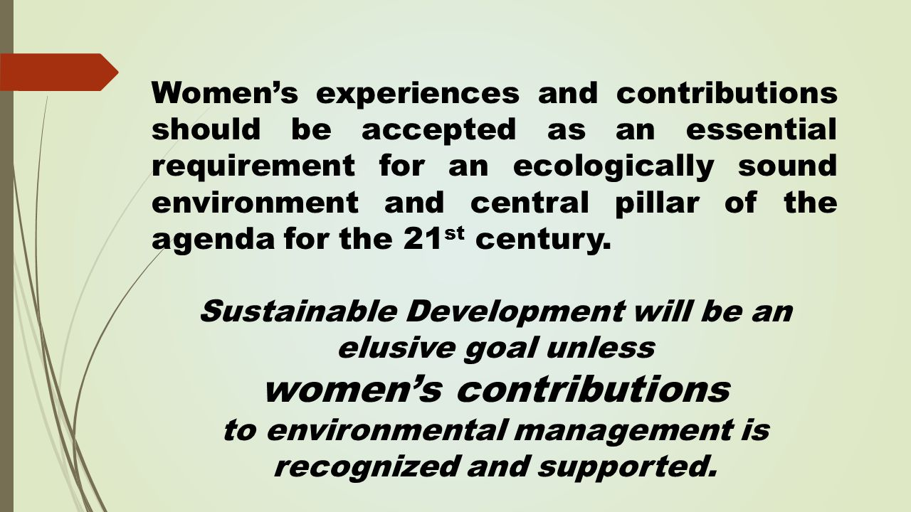 Women's experiences and contributions should be accepted as an essential requirement for an ecologically sound environment and central pillar of the agenda for the 21 st century.