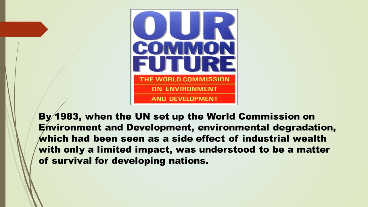 By 1983, when the UN set up the World Commission on Environment and Development, environmental degradation, which had been seen as a side effect of industrial wealth with only a limited impact, was understood to be a matter of survival for developing nations.