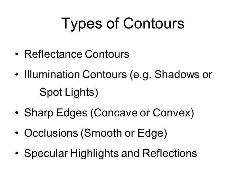 Types of Contours Reflectance Contours Illumination Contours (e.g.