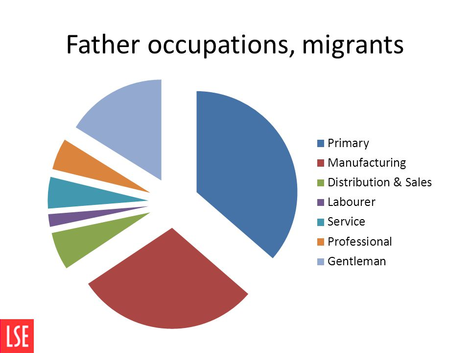 Father occupations, migrants