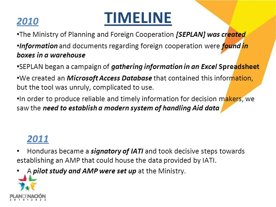 TIMELINE 2010 The Ministry of Planning and Foreign Cooperation [SEPLAN] was created Information and documents regarding foreign cooperation were found in boxes in a warehouse SEPLAN began a campaign of gathering information in an Excel Spreadsheet We created an Microsoft Access Database that contained this information, but the tool was unruly, complicated to use.