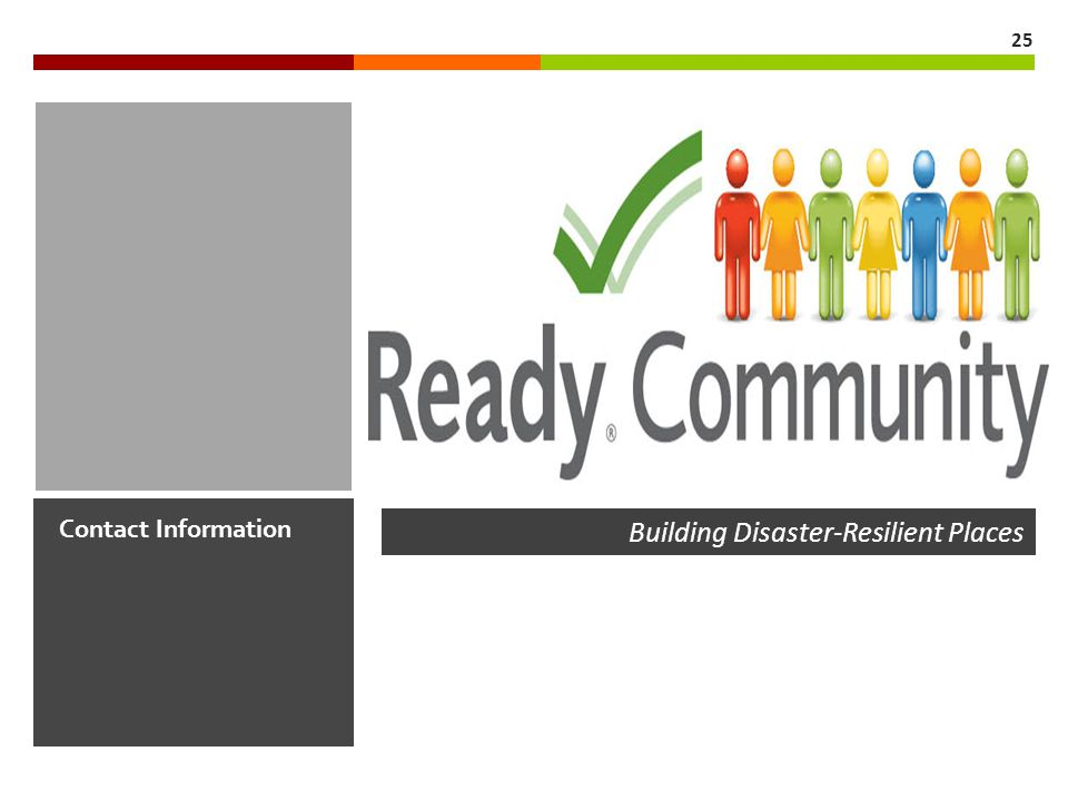 Contact Information 25 Building Disaster-Resilient Places