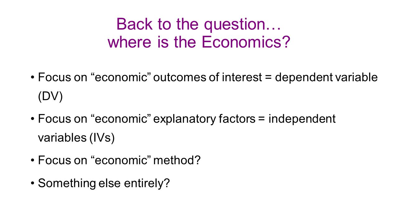 Back to the question… where is the Economics.