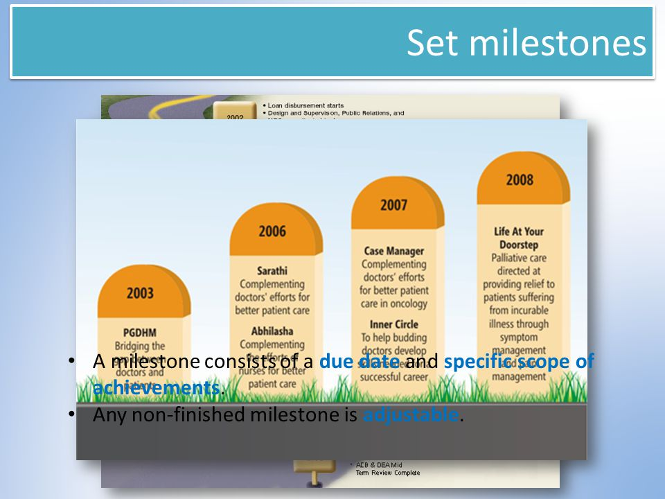 Set milestones A milestone consists of a due date and specific scope of achievements. Any non-finished milestone is adjustable.