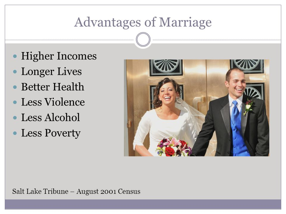 Advantages of Marriage Higher Incomes Longer Lives Better Health Less Violence Less Alcohol Less Poverty Salt Lake Tribune – August 2001 Census