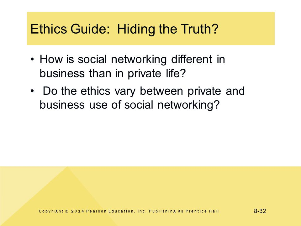 8-32 Ethics Guide: Hiding the Truth. Copyright © 2014 Pearson Education, Inc.