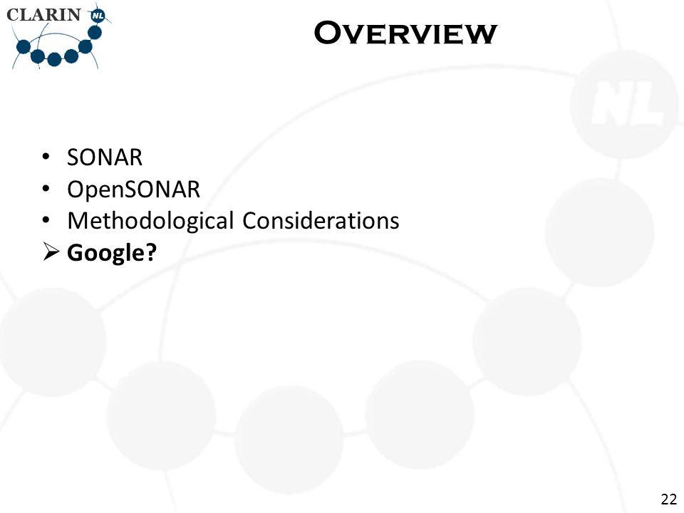 SONAR OpenSONAR Methodological Considerations  Google? Overview 22