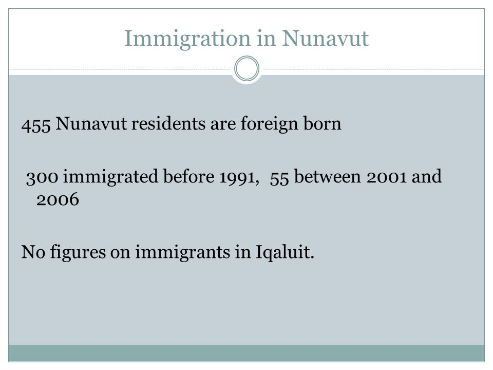 Immigration in Nunavut 455 Nunavut residents are foreign born 300 immigrated before 1991, 55 between 2001 and 2006 No figures on immigrants in Iqaluit.