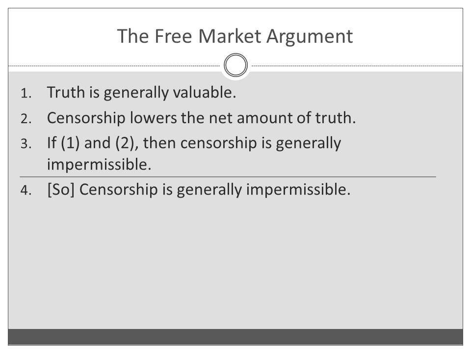 1. Truth is generally valuable. 2. Censorship lowers the net amount of truth.