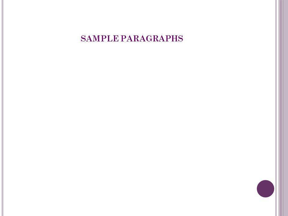 SAMPLE PARAGRAPHS