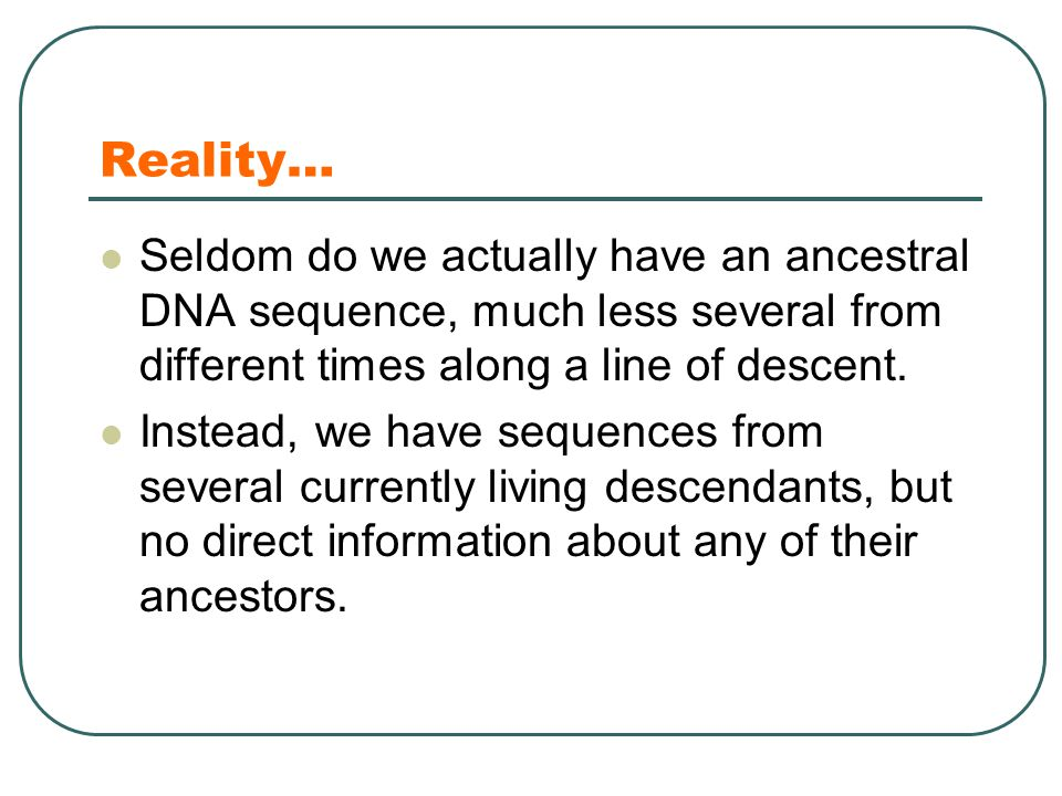 Reality… Seldom do we actually have an ancestral DNA sequence, much less several from different times along a line of descent.