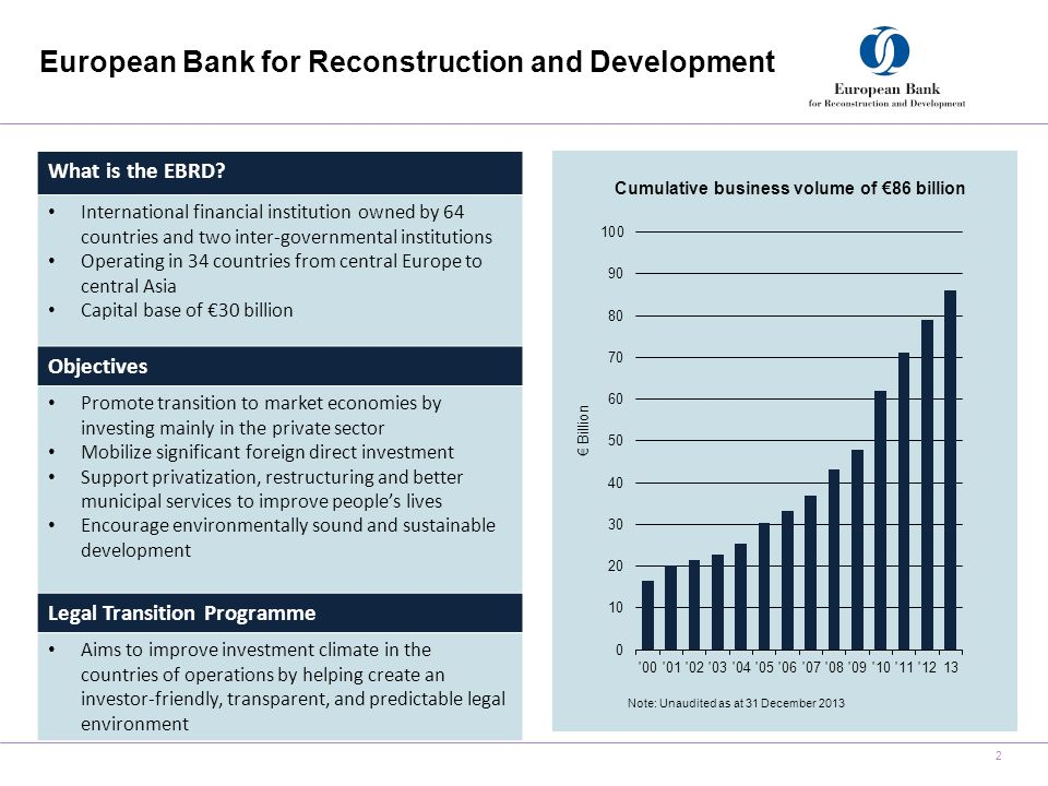 European Bank for Reconstruction and Development 2 Cumulative business volume of €86 billion Note: Unaudited as at 31 December 2013 What is the EBRD.