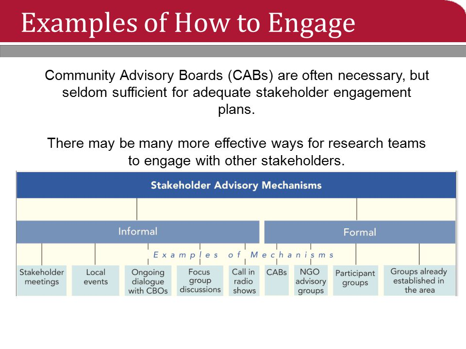 Examples of How to Engage Community Advisory Boards (CABs) are often necessary, but seldom sufficient for adequate stakeholder engagement plans. There