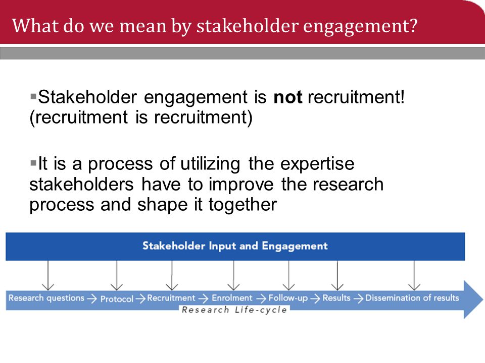 What do we mean by stakeholder engagement?  Stakeholder engagement is not recruitment! (recruitment is recruitment)  It is a process of utilizing th